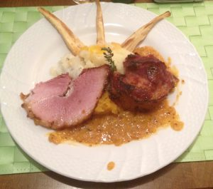 Honey-roast ham hock with mustard sauce and puréed root vegetables